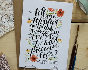 Watercolor Note Card/ Mary Oliver Quote/ Just Because Card/ Friendship Card/ Nursery Art- 5x7