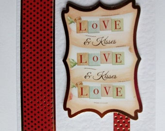 With Love card. Hand crafted card. Hand made card. Paper craft card. Romantic greeting card. Everyday card. Thinking of you card.