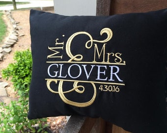 Custom Wedding  or Anniversary Embroidered Pillow Cover...Mr. and Mrs.  Ampersand....Choose 2 Thread Color Design... Names and Wedding Date