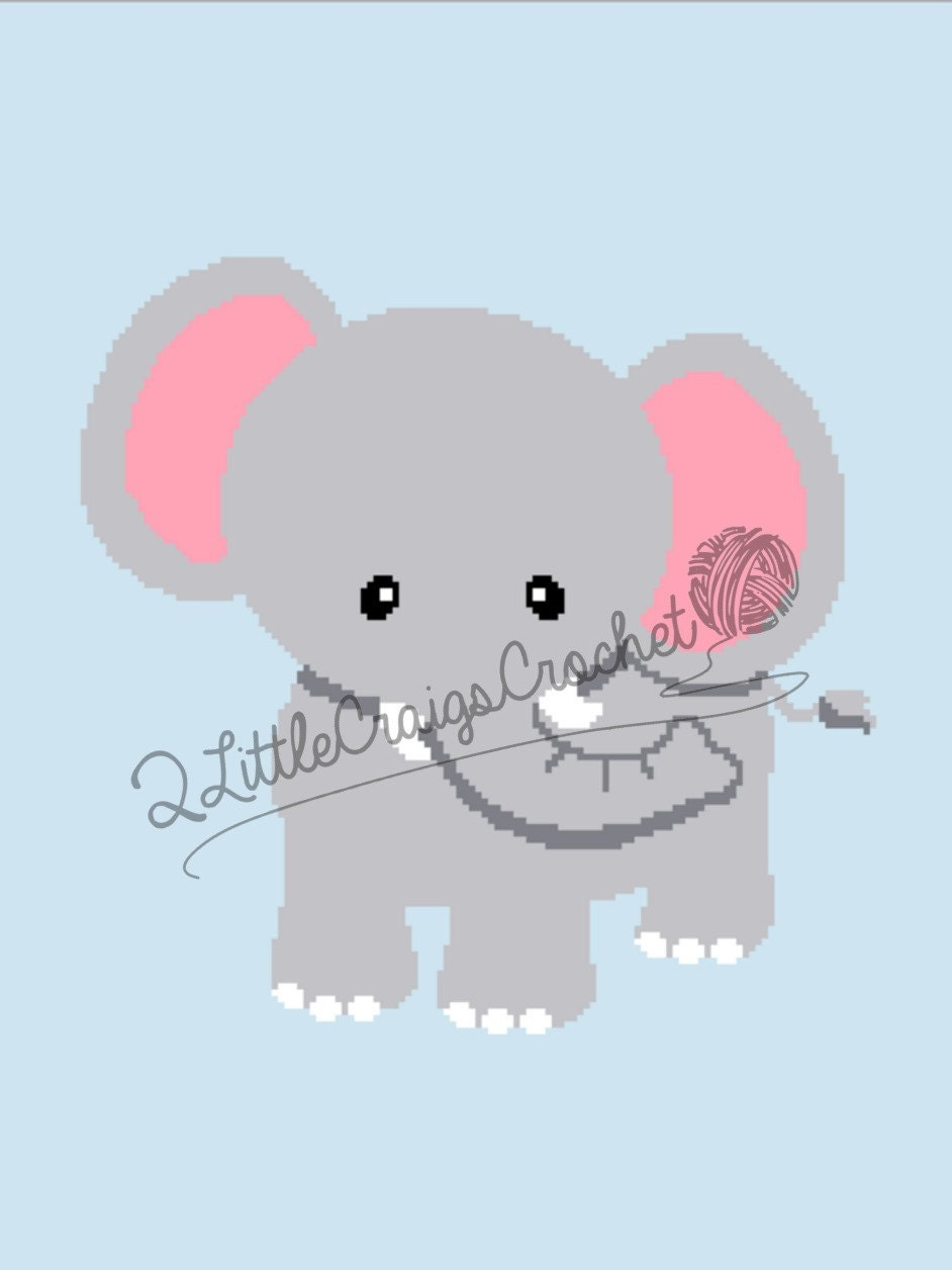 INSTANT DOWNLOAD - Elephant - Crochet Graph - Crochet Pattern ...