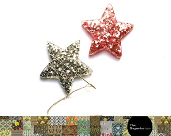 Two Glitter Star Needle Minder/Needle Keeper [glitter, shooting star, stars, space, wish upon a star]