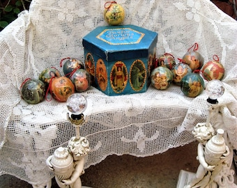 Twelve Glorious Angels Christmas Ornaments 1990s Victorian Style Decoupage in Hatbox