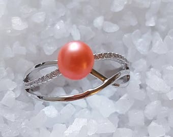 925 Sterling Silver Double Banded Wave Ring with Orange Freshwater Pearl