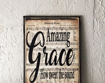 Amazing Grace, Amazing Grace Wood Sign,  Amazing Grace Sign, Amazing Grace Hymn Sheet, Vintage Hymn Wall Decor, Inspirational Gifts for Her