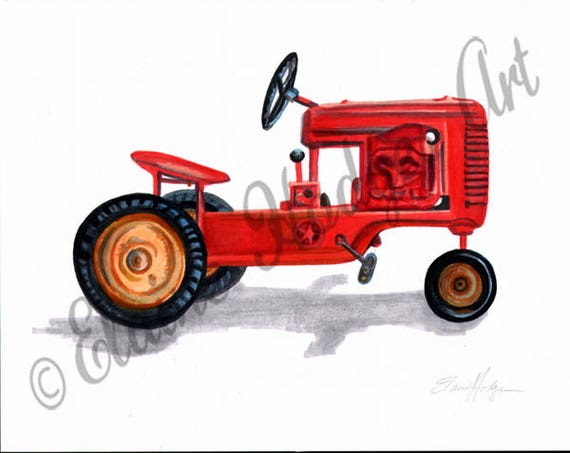 Junior Pedal Tractors Antique : Vintage toy pedal car tractor art print from original artwork