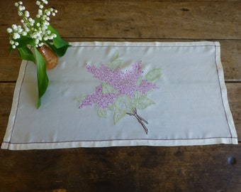 Embroidered Silk Tray Cloth or Table Topper 6x35cm