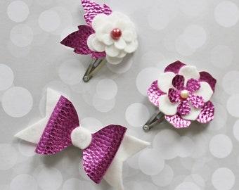 Set of 3 Hair Clips -  Baby Hair Clips -  Glitter Hair Clip - Pink Hair Clips -  Flower Hair Clip - Ready to ship