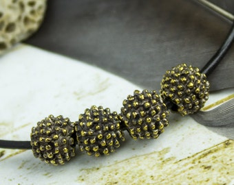 25%OFF Mykonos beads 2 Bali Style Mykonos Greek 8mm Rustic dotty Ball round bead, Black patina on bronze, beads with dots, Antiqued bead