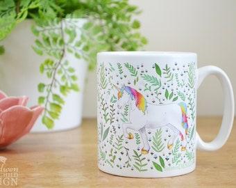 Unicorn Ceramic Mug, Unicorn Coffee Mug, Tea Cup, Coffee Cup, Coffee Lover, Ceramic Cup, Botanical Mug, Unicorn Gift