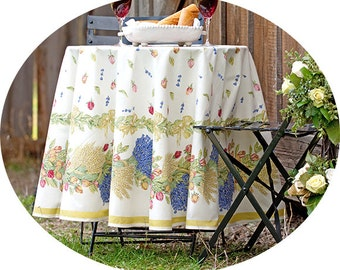70 inches Round Tablecloth Acrylic Coated Roses and Lavender - Stain Resistant - Provence Cotton Laminate Acrylic Coated Tablecloth -
