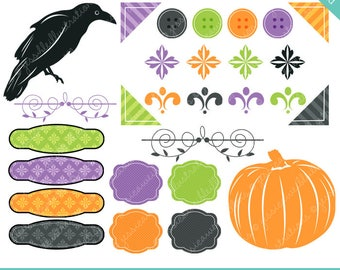 Halloween Elements Digital Clipart for Commercial or Personal Use, Raven Silhouette, Accents, Pumpkin, Black Bird, Halloween Graphics