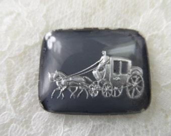 "Czech acrylic rectangular stagecoach cabochons grey /silver,1""x7/8th"", 1pc-CAB203"
