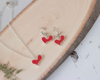 Silver Necklace Earrings Set, Heart Jewelry Set, Dangle silver Earrings, Red Heart Necklace, Heart Drop Earrings, Silver Heart Necklace