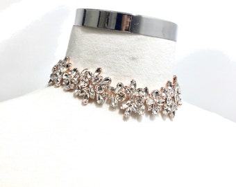 Rose gold Rhinestone Diamond Choker, Rose gold Rhinestone Necklace