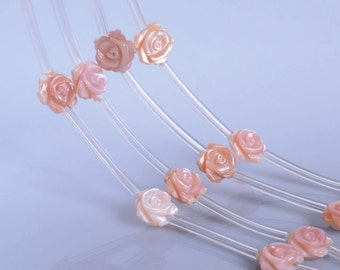 0486 10mm Mother of pearl MOP Pink shell rose flower loose beads 15pcs (both sides carved)