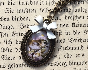 Necklace with blackberries and birds