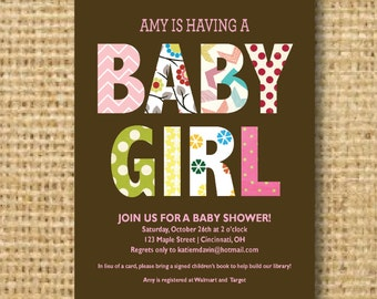 Pattern Baby Girl Baby Shower Invites