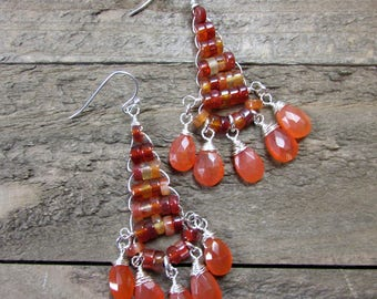 Carnelian Gemstone Earrings, Natural Gemstones, Wire Wrapped Earrings