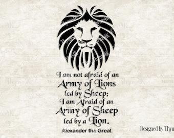 "SVG, Digital Design - Lion Head ""I am not afraid..."" quote - includes svg, dxf, eps, png and jpeg formats"