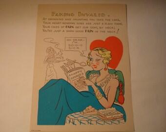 Vintage Fifties Paper Valentine FAKING INVALID