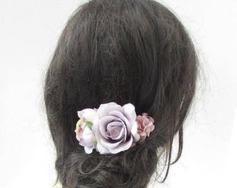 Lilac Light Purple Peony Rose Flower Hair Comb Fascinator Bridesmaid Floral 5156