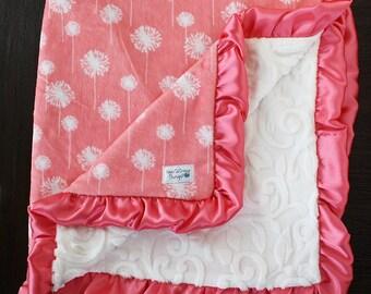 baby girl Minky blanket, baby girl, baby gift, dandelion, coral, Custom minky blanket, coral blanket, baby gift, ruffle, shower gift, vine