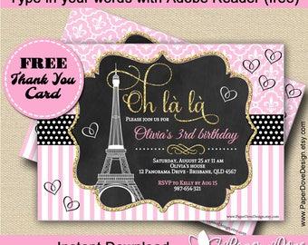 "Paris Invitation 5x7"" | Paris Party | Free Thank you card  -You EDIT with Adobe Reader & PRINT-Instant Download-DIY-Paper Dove Design"