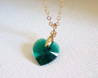 Gold Heart Necklace//Emerald Crystal Heart Necklace//Birthstone Heart Necklace//Birthday Gift//Gift for Mom, Gift for Her// Sterling Silver