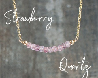 Heart Chakra Necklace, Strawberry Quartz Necklace, Gemstone Necklace, Pink Quartz Bar Necklace, Girlfriend Gift for Her, Dainty Jewelry