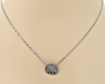 Pewter Sand Dollar Silver Chain Necklace Minimal Jewelry Beach Sea Shell