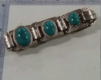 Vintage used   silver tone bracelet with blue green accents