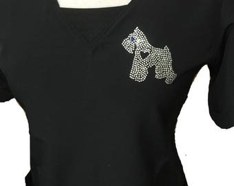 Ladybird Line Giant Schnauzer Women Crystal Rhinestone Transfer Iron On T-shirt Aprons Jackets Tank Top Hoodies Tote Bags and Caps Crafting