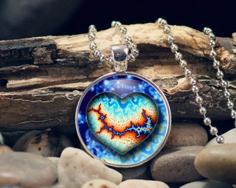 Heart Necklace, Fractal Heart Necklace, Gift for her, Heart Pendant, Paisley Heart Pendant