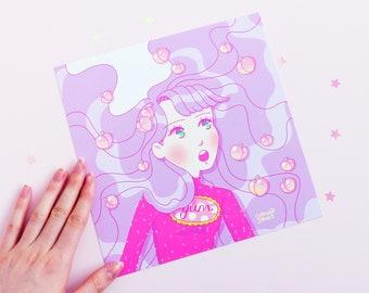 Peaches Girl Print, Square Print, Geeniejay, Pink, Kawaii, Original Art, Art Print, Illustration, Digital Art, Cat, Comfort, Pastel