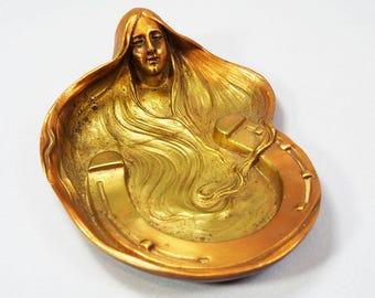 Art Nouveau French Bronze & Copper Tray