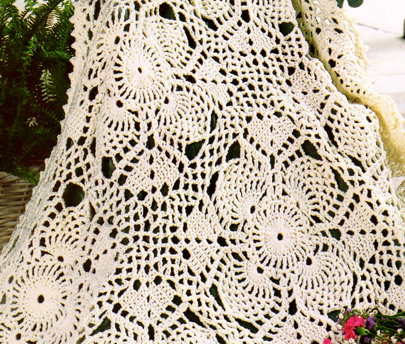 Vintage Lace Crochet Pineapple Afghan Pattern PDF Instant Digital ...