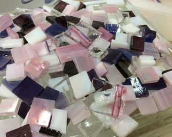 100 PARTY MIX - Pink & Purple Stained Glass Mixed Size Tiles B28