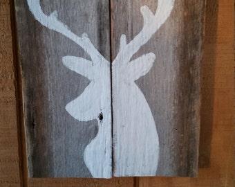 Deer Silhouette, Deer Head Wall Hanging, Hunting Decor, Wooden Sign, Buck Silhouette, Woodland Decor, Painted Buck Wall Hanging, Deer, Buck