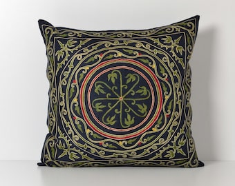 Suzani Pillow Cover -  Navy Blue Hand Embroidered Floral Vintage Suzani Pillow - Silk Pillow - Decorative Pillows For Couch - Throw Pillow