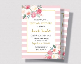 BLUSH PINK and GOLD Bridal Shower Invitation | Pink Stripe and Gold Watercolor Floral  with Roses | Shabby Chic Bridal Shower Invitation