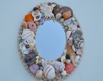 Coastal Decor Seashell Mirror, Nautical Decor, Seashell Mirror, Coastal Home Decor, Shell Mirror, Beach Decor, Nautical Oval Shell Mirror