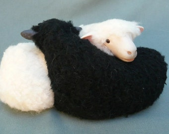 Irish Sheep Galway Black and White Entwined Twins, Yin and Yang