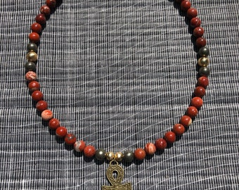 Red Ruby Beaded Ankh Necklace