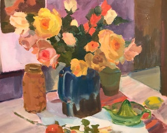 FLORAL STILL LIFE Vintage oil painting on canvas panel