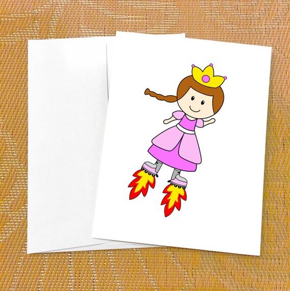 Funny Birthday Card For Her Cute Princess Card Skates