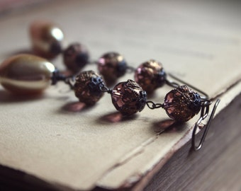 The Ennis Earrings. Bohemian Romantic Victorian Bridal Vintage Faux Pearl and Violet Crystal Drop Earrings.