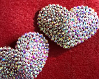 Heart shaped rhinestoned burlesque Pasties - Nipplecovers