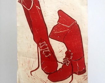 These boots were made for walking, original vintage linocut print. Original wall art ready to frame