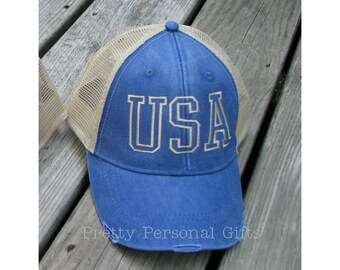USA Trucker Hat, USA baseball hat, Distressed Trucker Hat, Patriotic Baseball Hat, USA Hat, Available in 12 colors