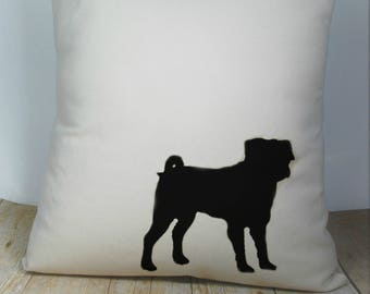 Pug Pillow Cover Natural Color Canvas with Black Pug Shape 18x18 Inch Cover Made to Order